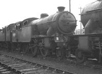 Class V1 2-6-2T no 67622 stands in the 'stored locomotive' sidings at Boness Harbour on 26 February 1962. The locomotive is recorded as being officially withdrawn from Parkhead shed the following month. <br><br>[K A Gray&nbsp;26/02/1962]