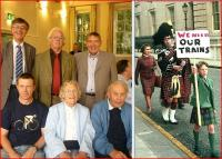 Some of the original Waverley Route campaigners reunited for the first time in over 40 years at the DS book launch on 23 August. Left to right standing are Andrew Boyd, Chris Harvie and Bruce McCartney, while seated  are Kim, Madge and Bob Elliot. The smaller picture shows Madge and Kim in Downing Street during the campaign itself.<br><br>[Bruce McCartney Collection&nbsp;23/08/2012]