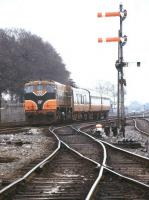 An arriving train about to pass Limerick Check in April 1996.<br><br>[Ian Dinmore&nbsp;/04/1996]