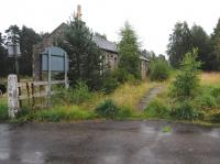 On a very wet August day the progress of the undergrowth in enveloping Carron Station is clear. Rate of growth over the past 3 years is suprising! Taken from the site of the level crossing in August 2012, looking north towards Aberlour.<br><br>[Brian Taylor&nbsp;25/08/2012]