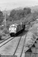 37023 indulges in a spot of shunting at Redmire on 28 July 1990.<br><br>[Bill Roberton&nbsp;28/07/1990]