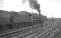 Jubilee 45654 <I>Hood</I> takes the 9am Glasgow St Enoch - London St Pancras south from Carlisle in August 1961.<br><br>[K A Gray&nbsp;05/08/1961]