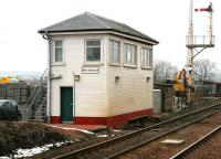 The signal box at the north end of New Cumnock station, photographed on a chilly 29 March 2006, with traces of a recent snowfall in evidence. <br><br>[John Furnevel&nbsp;29/03/2006]