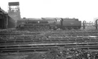 Rebuilt 'Merchant Navy' Pacific no 35015 <I>Rotterdam Lloyd</I> stands in the shed yard at Nine Elms in August 1961. The locomotive was officially withdrawn from here in February 1964.<br><br>[K A Gray&nbsp;21/08/1961]
