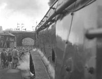 60019 <I>'Bittern'</I> eager to be away from Buchanan Street with the special BR last A4 run to Aberdeen on 3 September 1966. [See image 27834]<br><br>[Colin Miller&nbsp;03/09/1966]