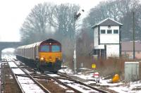 A southbound coal train approaching Kirkconnel with fuel for Drax power station on a cold March morning in 2006.<br><br>[John Furnevel&nbsp;29/03/2006]