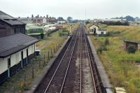 Middlewich station looking north from the A54 bridge in September 1972. It had closed to passengers in 1960 and to freight seven years later, although the line from Sandbach to Northwich, on which it was the only intermediate station of any significance, was still open to freight traffic, as it is today. <br><br>[Bill Jamieson&nbsp;10/09/1972]