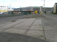 A short section of surviving track from the old Caledonian Leith North yard. View towards Ocean Terminal in September 2012. [See image 40179]<br><br>[Bill Roberton&nbsp;01/09/2012]