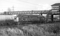 EE Type 4 No.D261 about to pass under Portobello East signal box with an up freight on 25 February 1970.<br><br>[Bill Jamieson&nbsp;25/02/1970]