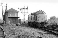 37403 passes Stirling Middle signalbox to couple on to the stock of an excursion train on 13 May 1990.<br><br>[Bill Roberton&nbsp;13/05/1990]
