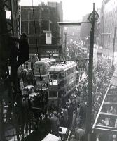 The last tram procession through Glasgow, taken 50 years ago today in the gathering dusk, with 100 ASA film and no tripod, from scaffolding in Jamaica Street. Note the eejit climbing the crane jib alongside!<br><br>[Colin Miller&nbsp;04/09/1962]