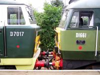 Hymek D7017 meets Brush Type 4 D1661 at Bishops Lydeard on 2 September 2012.<br><br>[Colin Alexander 02/09/2012]