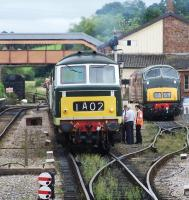 Diesel hydraulics on the West Somerset Railway in September 2012. D7017 and D832 were photographed at Williton. <br><br>[Colin Alexander&nbsp;02/09/2012]