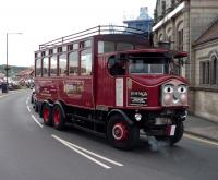 Steam bus <I>'Elizabeth'</I>, converted from an original 1931 Sentinel steam wagon, photographed on 1 September 2012 during one of her regular sightseeing tours around the town of Whitby. Northern Star<br><br>[John Steven&nbsp;01/09/2012]