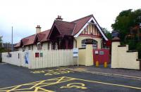 The road approach to West Kilbride station in September 2012. Sadly, the restaurant - 'Chu-Chu's' - has gone out of business and the building is currently up for sale. [See image 15724] <br><br>[Colin Miller&nbsp;12/09/2012]