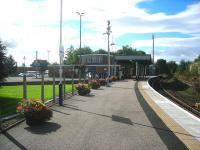 View west at Forres on 11 September showing some of the impressive floral work carried out by <I>'Forres in Bloom'</I>. [See image 40288]<br><br>[John Yellowlees&nbsp;11/09/2012]