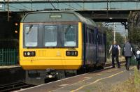 Northern 142060 calls at Leyland on 8 September 2012 with a service to Manchester Victoria.<br><br>[John McIntyre&nbsp;08/09/2012]