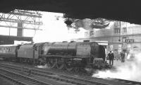 Stanier Coronation Pacific no 46247 <I>City of Liverpool</I> letting off steam at Carlisle station in the 1960s.<br><br>[K A Gray&nbsp;//]
