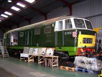 Hymek D7018 receiving attention at Williton on the West Somerset Railway in September 2012. <br><br>[Colin Alexander&nbsp;02/09/2012]