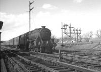 Kingmoor Black 5 no 44993 about to run south through Beattock station in April 1963 with a parcels train.<br><br>[K A Gray&nbsp;15/04/1963]