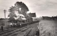 A westbound 54485 pauses at Innerpeffray, to the south east of Crieff, on the RCTS/SLS Joint Scottish Rail Tour on 15 June 1960. The special was on the leg from Methven to Comrie.<br><br>[WA Camwell (Copyright Stephenson Locomotive Society)&nbsp;15/06/1960]
