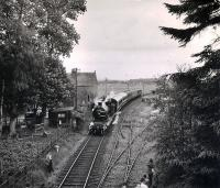 54485 stops at Abercairny with the westbound 1960 RCTS/SLS Joint Scottish Tour heading for Comrie via Crieff.<br><br>[WA Camwell (Copyright Stephenson Locomotive Society) 15/06/1960]