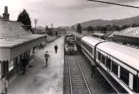 54485 runs round the stock of the 1960 RCTS/SLS Joint Scottish Tour after arrival at Comrie. At this time Comrie was the terminus of the line as the route west closed in 1951. Comrie remained open until 1964. The view is east.<br><br>[WA Camwell (Copyright Stephenson Locomotive Society)&nbsp;15/06/1960]