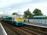 The Arriva Trains Wales 11.21 ex-Cardiff Central calls at Llanfairpwll on 17 September on its journey to Holyhead.  <br><br>[Bruce McCartney&nbsp;17/09/2012]