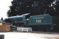 SR 'Schools' class no 928 <I>Stowe</I> stands in the grounds of the Montagu Motor Museum, Beaulieu, in 1971.<br><br>[John McIntyre&nbsp;/07/1971]