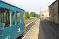 Looking east from Leyburn station in August 2012. Class 117 DMS W51400 was on this occasion paired with a Metro-Cammel unit to form a two car set. [See image 27817] for the same location in 1982, since when the track layout has been greatly simplified. <br><br>[Mark Bartlett&nbsp;11/08/2012]