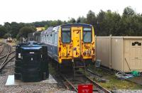 BR Class 140 DMU in the sidings at Dufftown in September 2012. [See image 24656]<br><br>[Peter Todd&nbsp;18/09/2012]