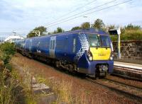 Making the penulimate stop on its journey from Edinburgh to Helensburgh, 334012 arrives at Craigendoran on the morning of 23 September 2012.<br><br>[John McIntyre&nbsp;23/09/2012]