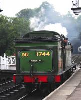 Gresley N2 0-6-2 tank No. 1744 backs down onto its train at Grosmont on 20 September. It's a long way from Kings Cross and suburban commuter duties!<br><br>[Brian Taylor&nbsp;20/09/2012]