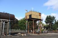 Water, water everywhere... the two water towers at Boat of Garten, September 2012.<br><br>[Peter Todd&nbsp;17/09/2012]