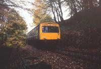 DMU in Calstock Church cutting on the Gunnislake branch in October 1992.<br><br>[Ian Dinmore&nbsp;/10/1992]