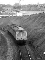 A Class 120 three car Swindon Cross Country unit approaches Kittybrewster on an Aberdeen to Inverness service in May 1975.<br><br>[John McIntyre&nbsp;/05/1975]