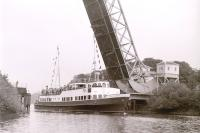 The Caledonian Steam Packet Co's <I>Maid of Argyll</I> passing the Scherzer bridge at Inchinnan while sailing up the Cart Navigation on a Clyde River Steamer Club Charter on 17 September 1966. [See image 38500]<br><br>[Colin Miller&nbsp;17/09/1966]