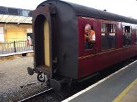 <I>'Back a bit... back a bit more...'</I> NYMR train being guided into the platform at Whitby on 1 September 2012.<br><br>[John Steven&nbsp;01/09/2012]