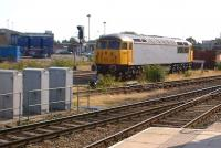 Refurbished class 56 no. 312 (in Cotswold Railways livery) languishes between Derby station and Etches Park depot on 15th September 2012.<br><br>[Ken Strachan&nbsp;15/09/2012]