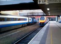 The old (an HST forming the 17.57 to St.Pancras) and the new ( a class 222 forming the 18.04 to Sheffield) meet at the venerable Leicester station on 15th September.<br><br>[Ken Strachan&nbsp;15/09/2012]