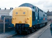 55019 <I>Royal Highland Fusilier</I> leaving Doncaster Works on 20 April 1982 under its own power, having just been handed over to the Deltic Preservation Society by British Rail.<br><br>[Colin Alexander&nbsp;20/08/1982]