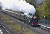 46233 <I>Duchess of Sutherland</I> enters Larbert with the 1Z46 Wolverhampton to Stirling excursion on 6 October.<br><br>[Bill Roberton&nbsp;06/10/2012]
