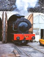 WD 0-6-0ST Austerity no. 48, built by Hunslet in 1943 (works number 2864) on shed at Aviemore, Strathspey Railway, in the summer of 1979.<br><br>[Peter Todd&nbsp;15/07/1979]