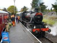 Ivatt 2-6-0 46512 awaits departure with the 11:00 from Dufftown station on 15 October as part of the Keith and Dufftown Railway's 150th anniversary celebrations.<br><br>[John Williamson&nbsp;15/10/2012]