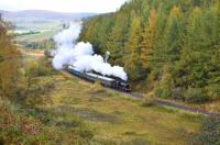 Ivatt 2-6-0 No. 46512 working hard on the climb out of Dufftown on 14 October with the first train of the day for Keith Town, with coaches made up of KDR DMU stiock.<br><br>[John Gray&nbsp;14/10/2012]