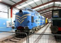 The <I>Made in Preston</I> exhibition at the Ribble Steam museum features a number of lcomotives that were built at the Dick Kerr/English Electric workshops. Pride of place goes to the prototype <I>Deltic</I>, now on extended loan to the RSR from the NRM [see image 17219]. It is seen here alongside a Dick Kerr electric shunter and Netherlands Railway 0-6-0DE NS601, which were also constructed in the city. <br><br>[Mark Bartlett&nbsp;06/10/2012]