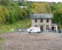 The cleared site at Gorebridge on 13 October, with the 1847 station building receiving some attention. View south from Station Road bridge over the planned car park. [See image 29947]<br><br>[John Furnevel&nbsp;13/10/2012]