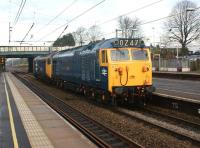 A pair of Class 50s from a previous Saturdays railtour head south through Leyland on 21 November 2011. In original railblue livery is 50044 leading 50049 in large logo livery. [See image 36479]<br><br>[John McIntyre&nbsp;23/11/2011]
