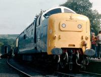 55009 <I>Alycidon</I> stands at Grosmont station on 21 August 1982. After handover to the Deltic Preservation Society at Doncaster Works the previous day [see image 19760] the Deltic is about to haul the first train of its preservation career.<br><br>[Colin Alexander&nbsp;21/08/1982]