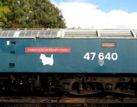 Broadside of 47640 <I>University of Strathclyde</I> standing at Shackerstone on the Battlefield line on 14 October 2012. <br><br>[Peter Todd&nbsp;14/10/2012]
